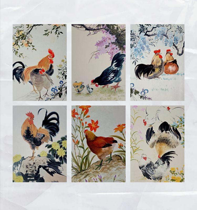 三五藝術品:朝鮮人民藝術家金圣民朝鮮油畫《歷代名畫家的雞》作品(抖音)