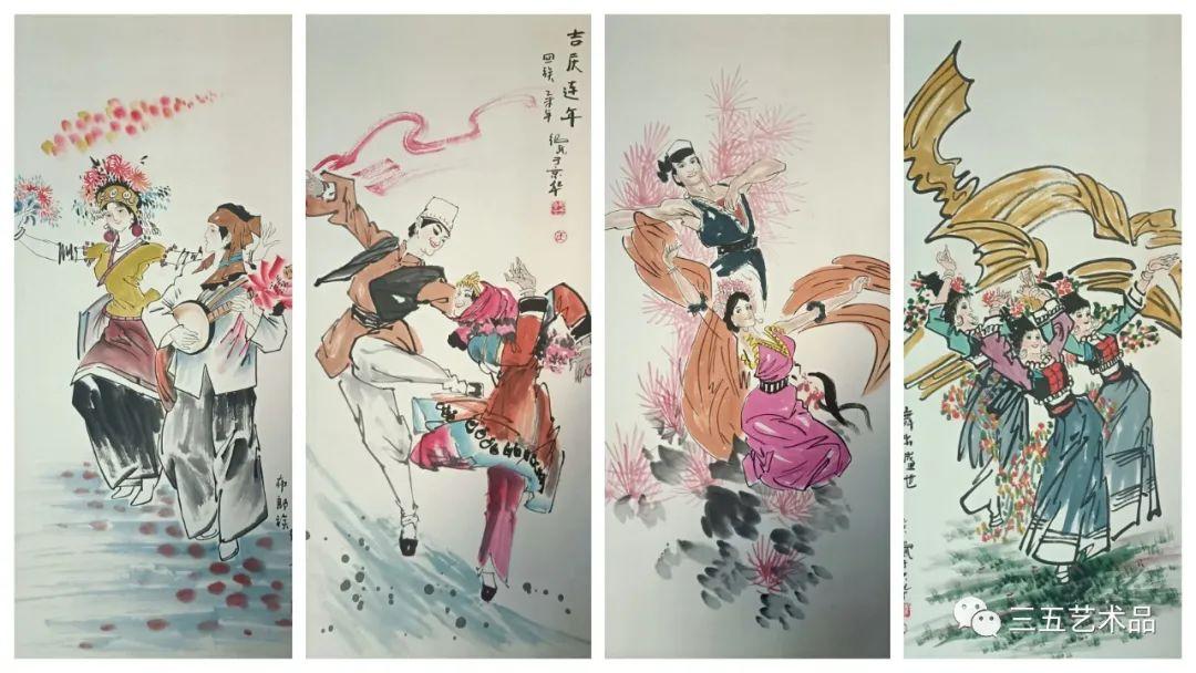 三五觀察網   三五藝術館 中國美術家協會會員王紹武 《56個民族大團結民族風采國畫》作品